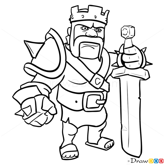 How To Draw Barbarian King, Clash Of Clans