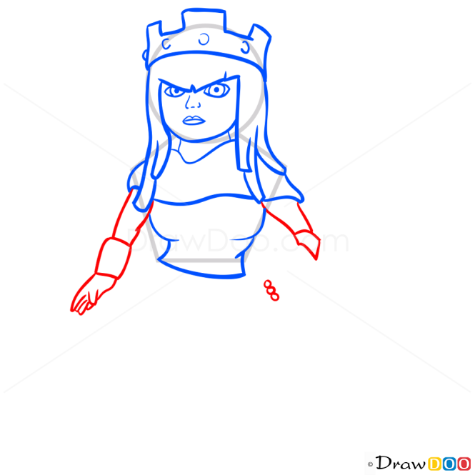 How to Draw Archer Queen, Clash of Clans