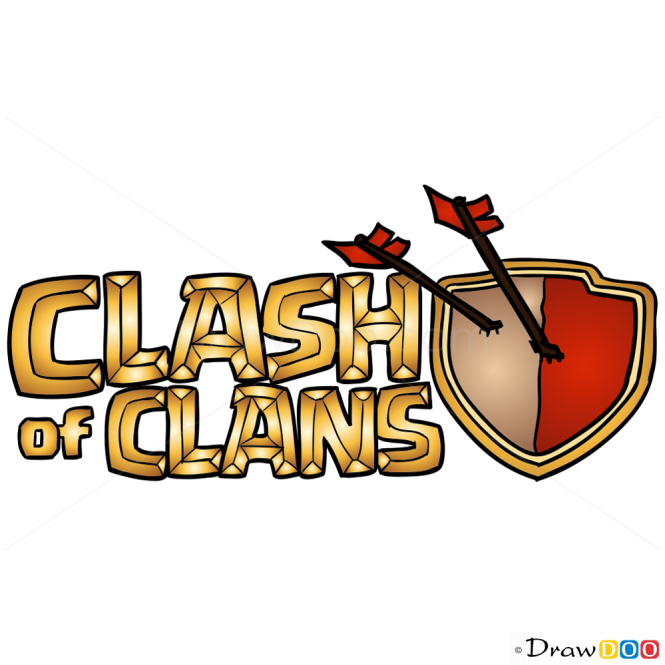 How To Draw Logo Clash Of Clans