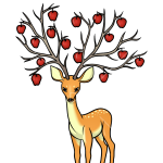 How to Draw Deer with Apple Tree, Deer