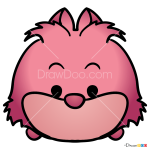 How to Draw Cheshire Cat, Disney Tsum Tsum