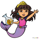 How to Draw Dora Mermaid, Dora and Friends