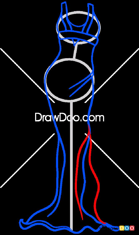 How to Draw Evening Dress, Dolls Dress Up