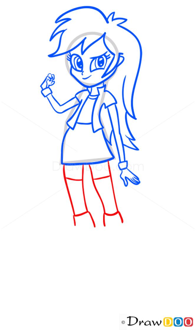 How to Draw Rainbow Dash, Equestria Girls