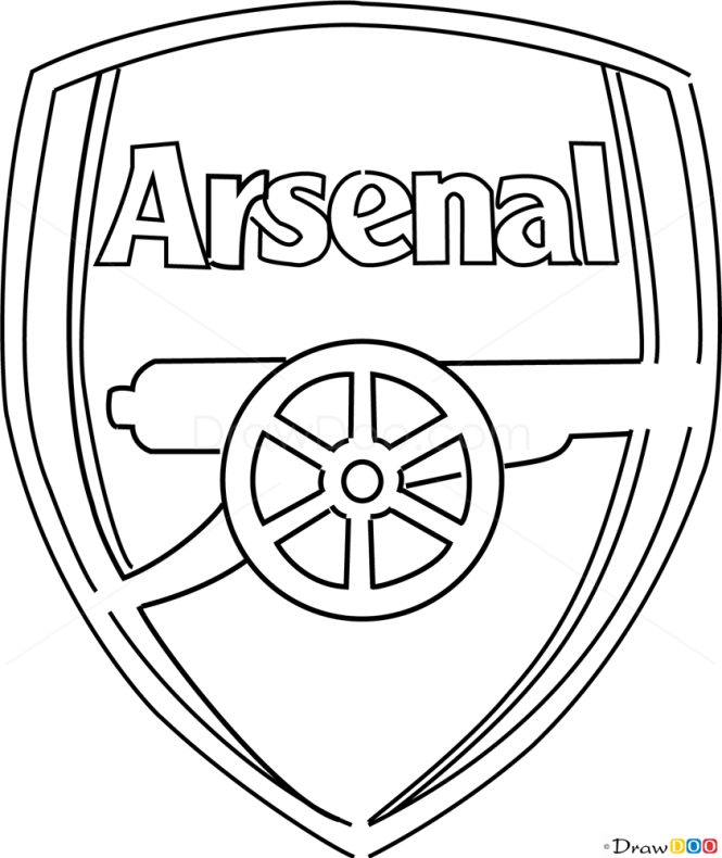 Line Drawing Logo : How to draw arsenal football logos