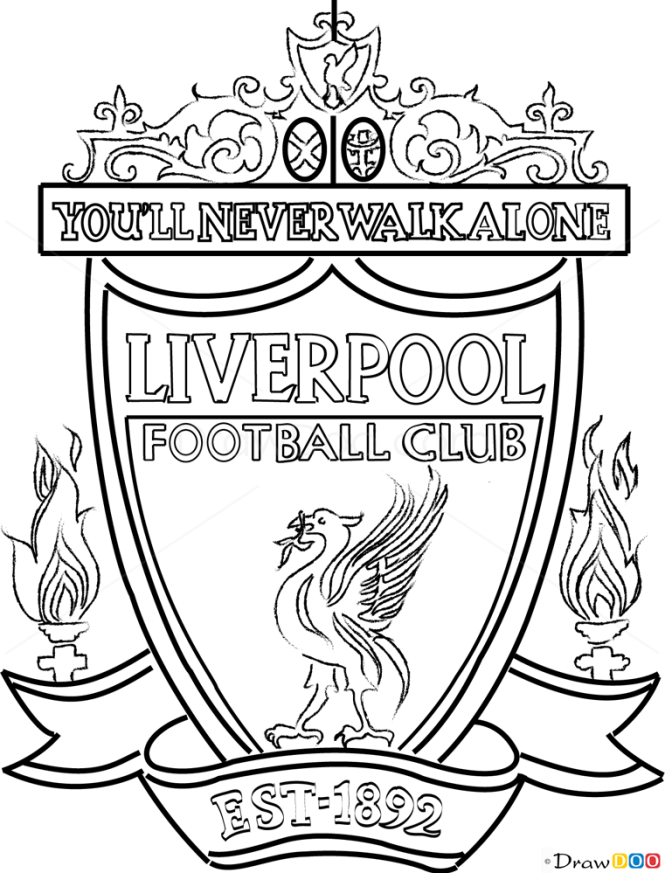 Line Drawing Logo : How to draw liverpool football logos