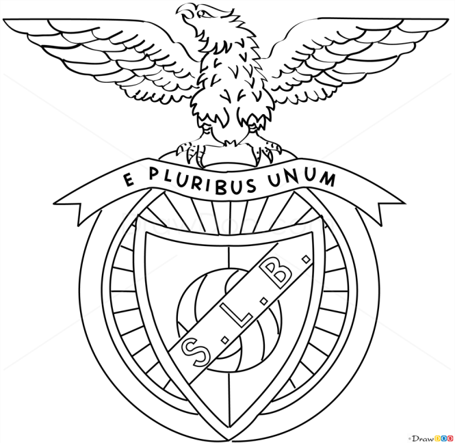 D Line Drawings Logo : How to draw benfica football logos