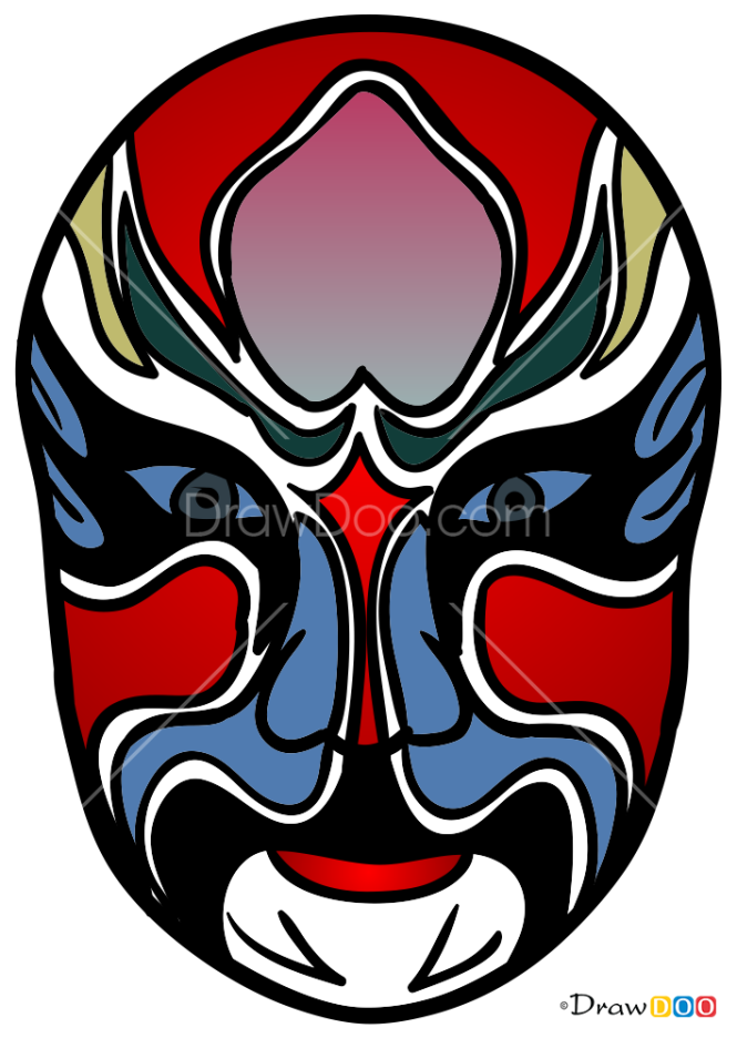How to Draw Chinese Opera Mask, Face Masks