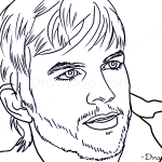 How to Draw Ashton Kutcher, Famous Actors