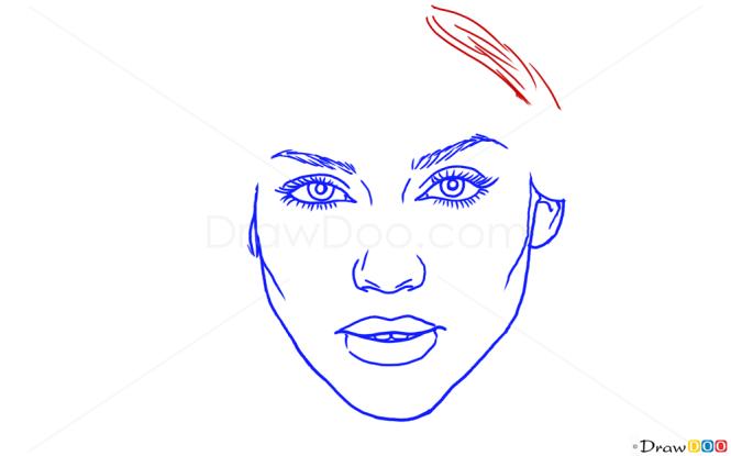 How to Draw Jessica Alba, Famous Actors