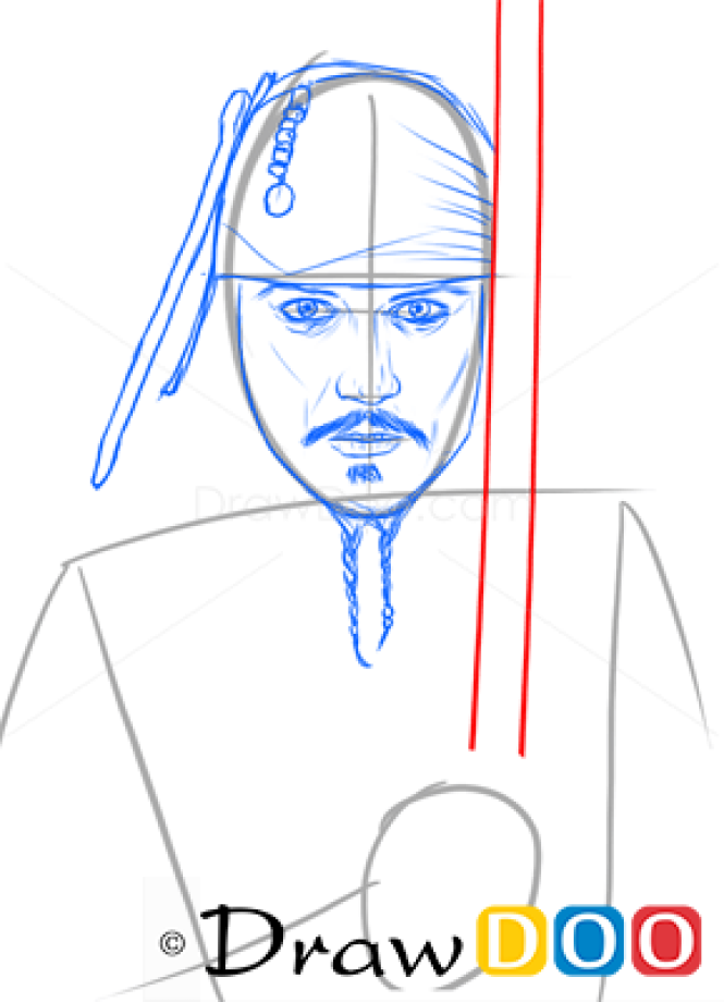 how to draw johnny depp easy step by step