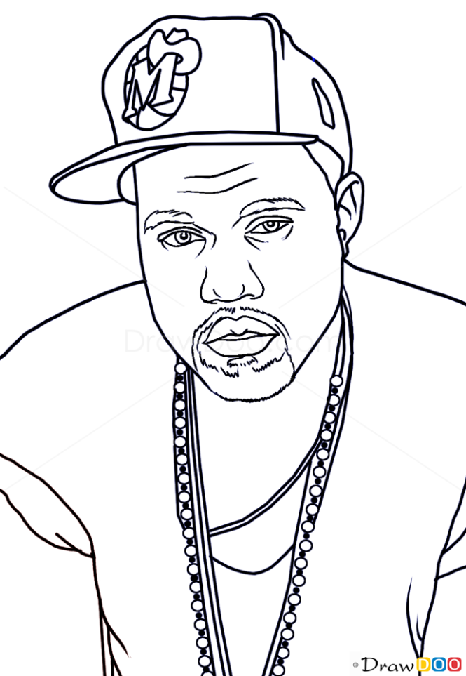 Line Drawing How To : How to draw kanye west famous singers