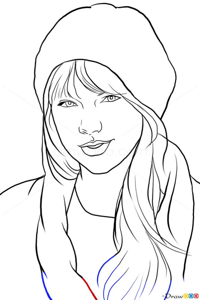 Drawing Lines With Swift : How to draw taylor swift famous singers
