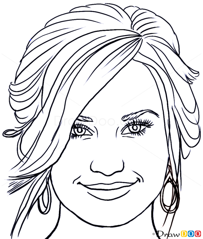 How to Draw Demi Lovato, Famous Singers