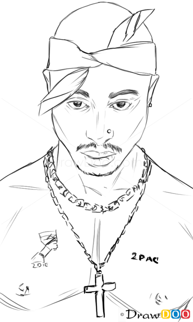 Drawing Lines With Php : How to draw tupac shakur famous singers