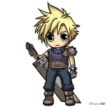 How to Draw Cloud Chibi, Final Fantasy