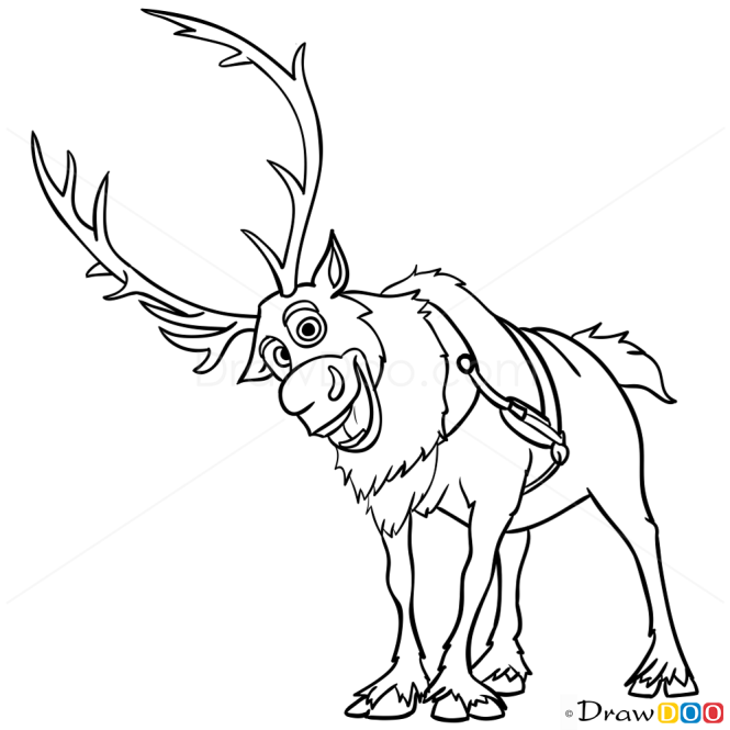 How to draw sven frozen for Sven coloring pages