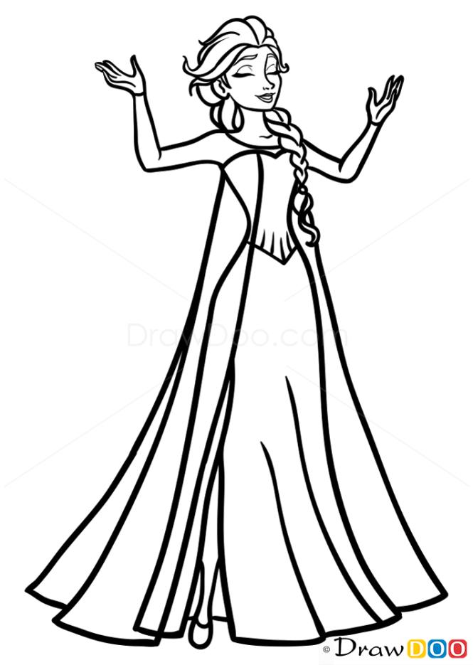 How to Draw Beautiful Elsa, Frozen