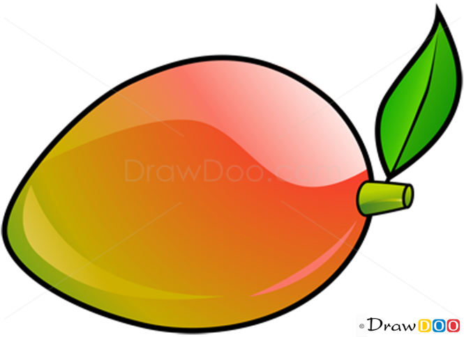 How To Draw Mango Fruits on Clip Art Christmas Tree Outline