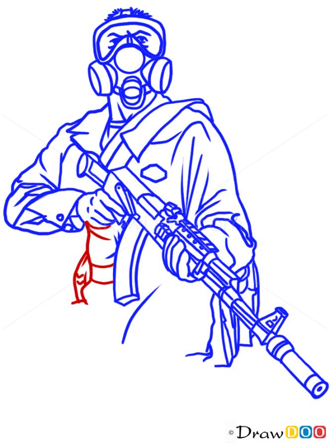 How to Draw Michael in, Bugstars Uniform, GTA