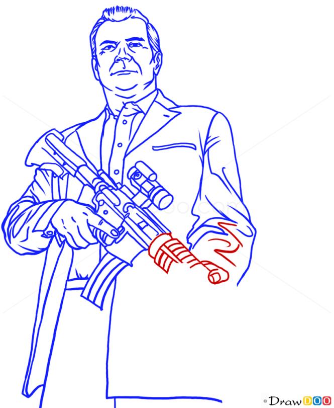 How to Draw Trevor, on ATV, GTA