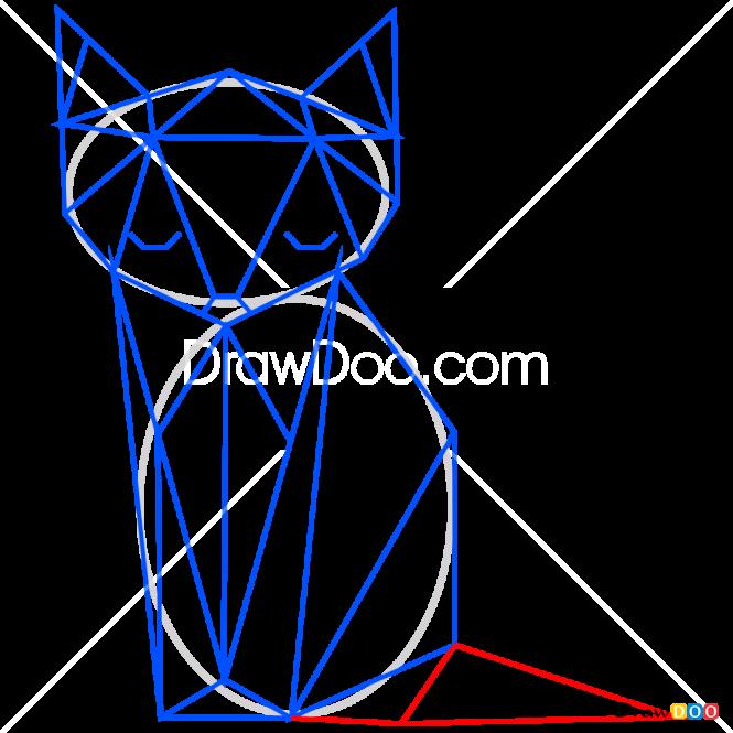 How to Draw Fox, Geometric Animals