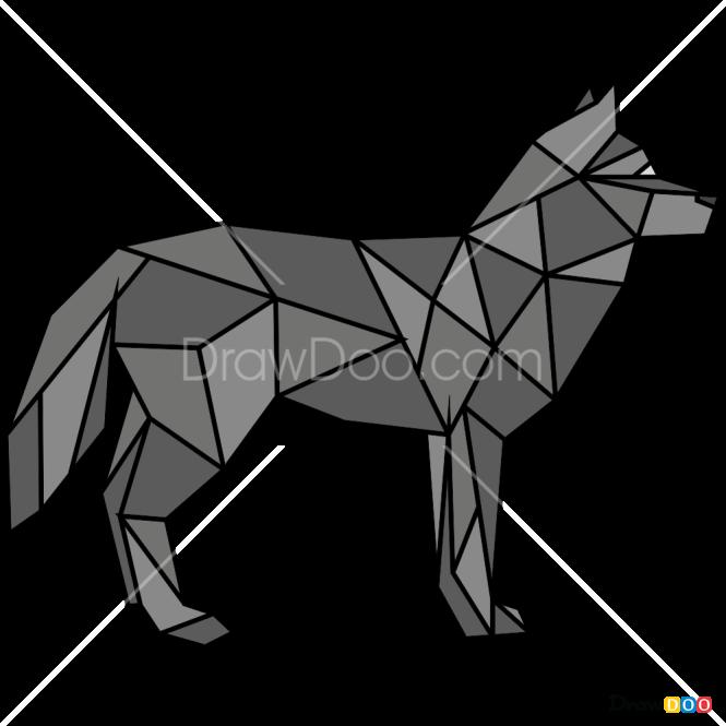 How to Draw Wolf, Geometric Animals
