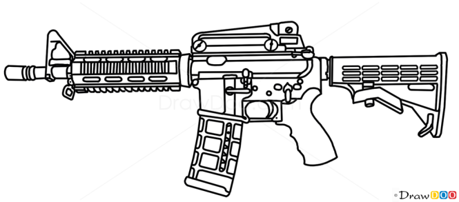 One Line Art Gun : How to draw colt m guns and pistols