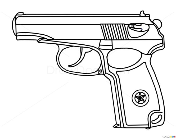 One Line Art Gun : How to draw makarov pistol guns and pistols