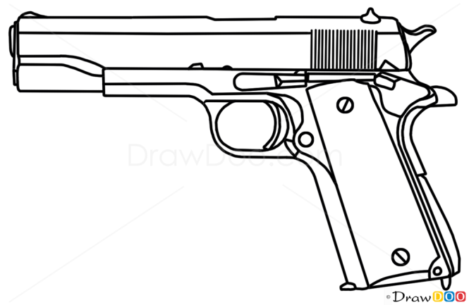 How to draw colt m1911 guns and pistols