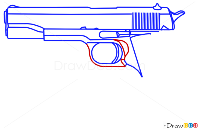 how to draw a flintlock pistol step by step