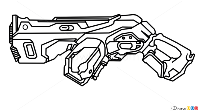 How to draw plasma gun guns and pistols