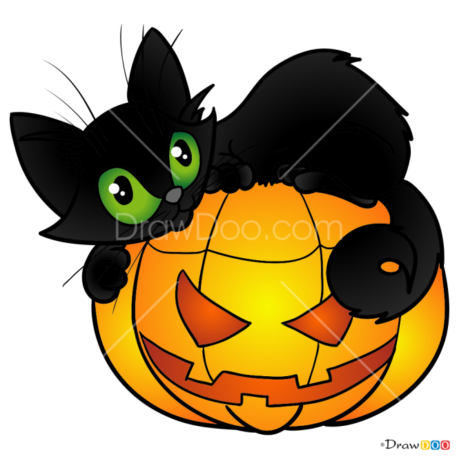 How to Draw Cat and Pumpkin, Halloween