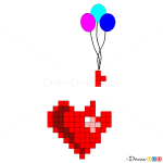 How to Draw Heart with balloons, Hearts