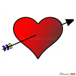 How to Draw Heart with arrow, Hearts