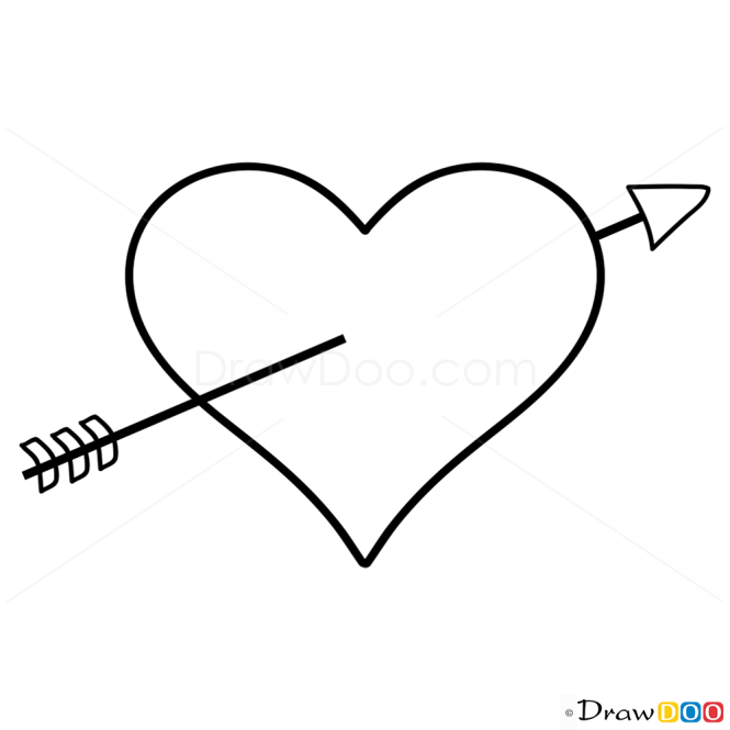 Heart With Arrow Drawing Tutorial Step By Step Drawing