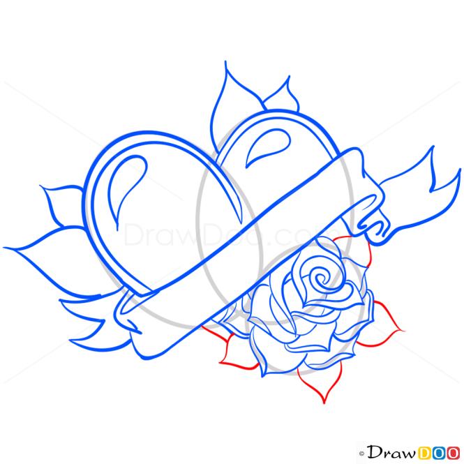 How to Draw Tatto Heart, Hearts