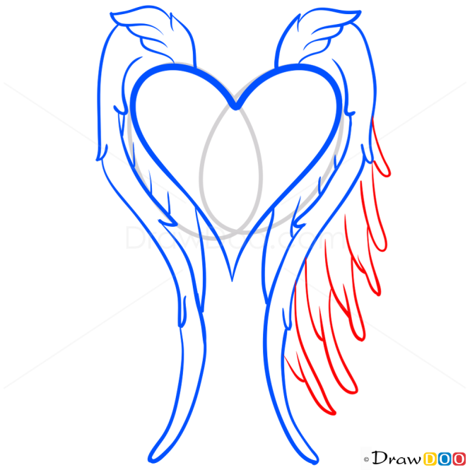 Angel Wings Drawing, Step by Step Drawing Lessons