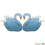Swans Heart Shape, Step by Step Drawing Lessons
