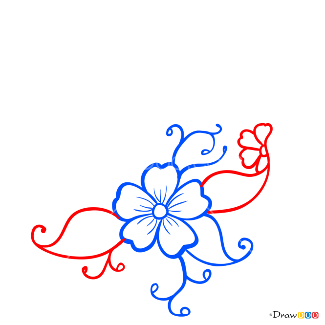 How to Draw Mehndi Flower 2, Tattoo Henna