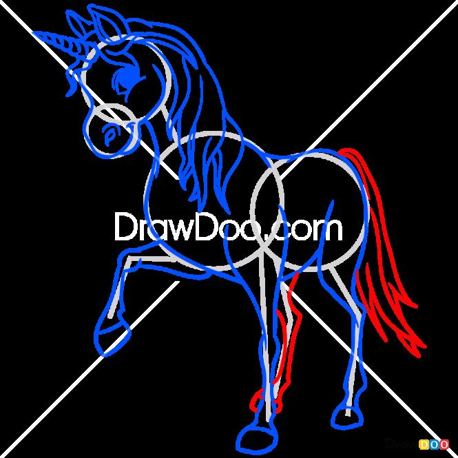 How to Draw Pink Unicorn, Horses and Unicorns