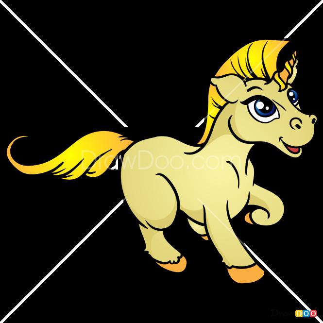 How to Draw Yellow Unicorn, Horses and Unicorns