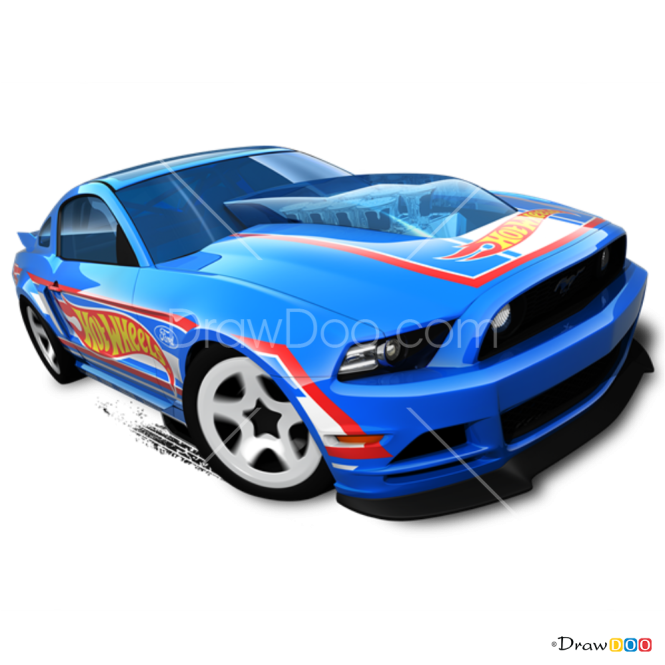 How to Draw Ford Mustang, Hot Wheels
