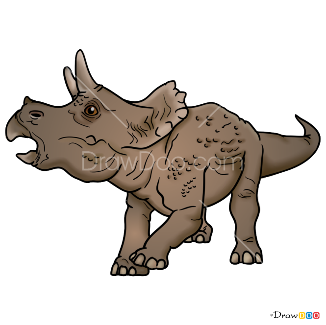 How to Draw Triceratops, Jurassic Dinosaurs
