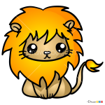 How to Draw Lovely Lion, Kawaii
