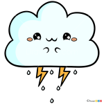 How to Draw Kawaii Cloud, Kawaii