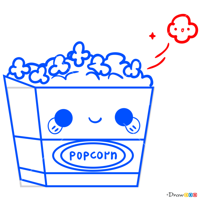 How to Draw Popcorn, Kawaii