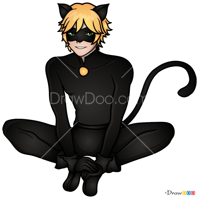 How to Draw Cat Noir 2, Ladybug and Cat Noir