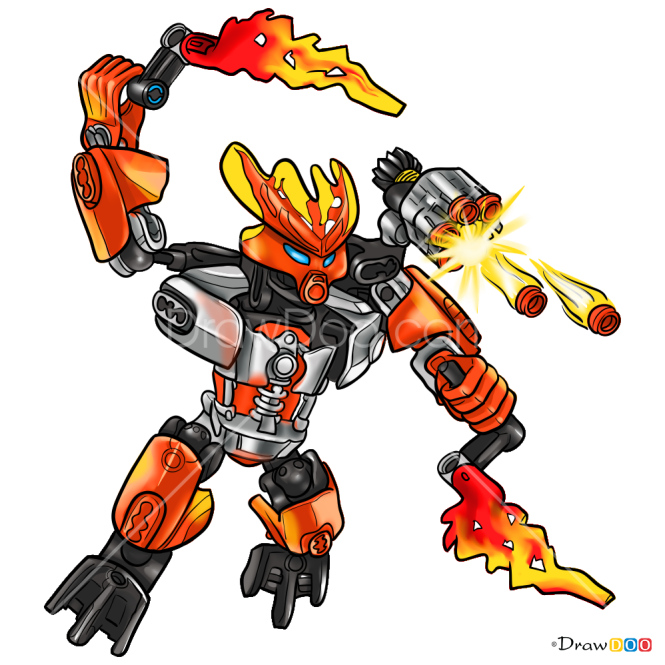 How to Draw Protector Of Fire, Lego Bionicle