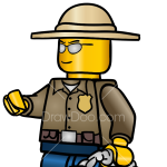 How to Draw Forest Police Officer, Lego City